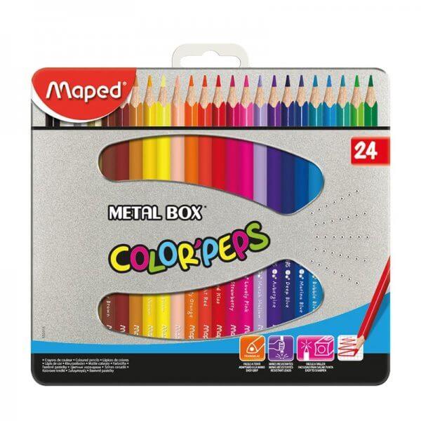 مدادرنگی ۲۴ رنگ جعبه فلزی – Maped